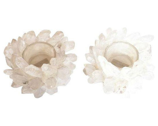 Natural Quartz Crystal Votive Holders - A Pair - $200 Est. Retail - $150 on Chai -