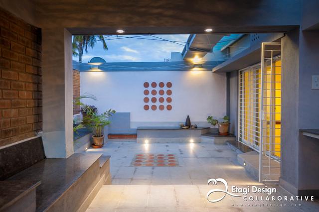Terrace Garden & Family Room For Kubsad Family in Bangalore, India. midcentury-deck
