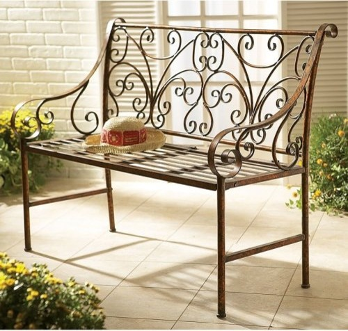 Metal Garden Bench with Scroll Design Contemporary