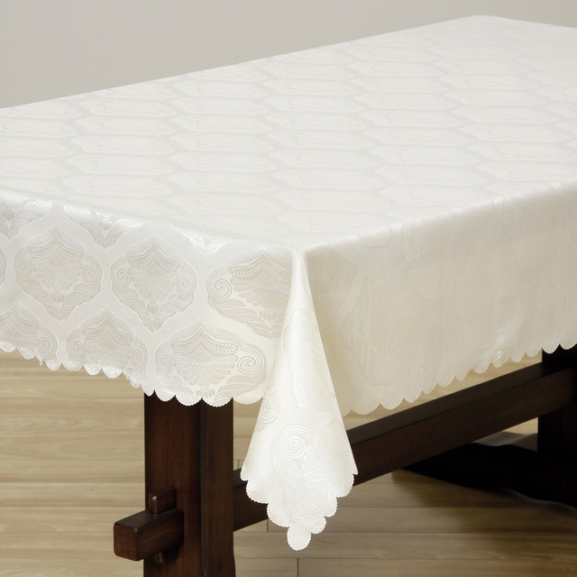 Two-tone Cream Shell Damask 57x119-inch Rectangular Tablecloth contemporary-tablecloths