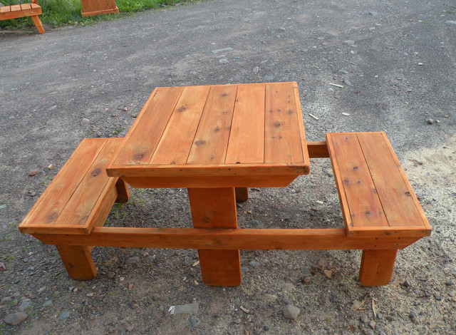 Handcrafted western red cedar 2 person picnic table for 10 person picnic table