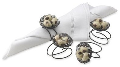 Nest with Bird Napkin Rings contemporary-napkin-rings