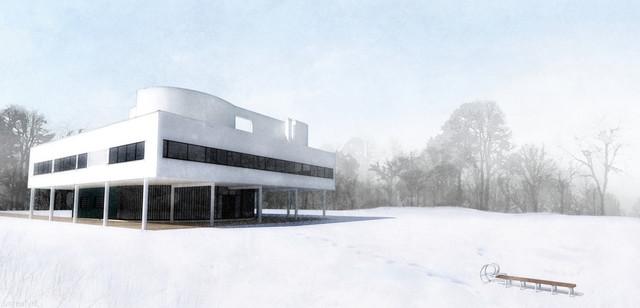 Villa Savoye in winter modern-rendering