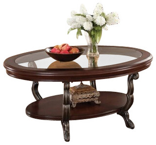 Bavol Cherry Finish Wood Oval Shaped Coffee Table With Glass Insert Traditional Coffee