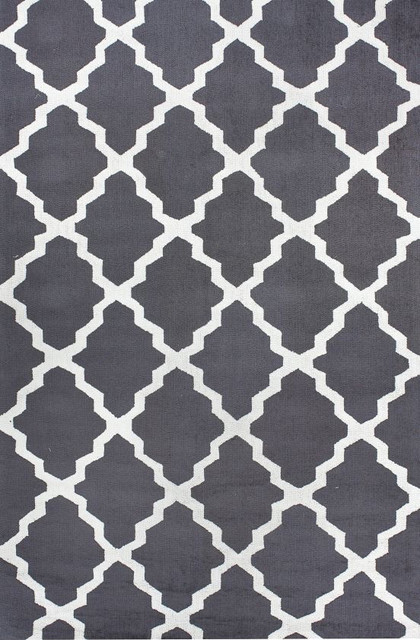 Homespun Modern Trelllis Charcoal Rug Contemporary
