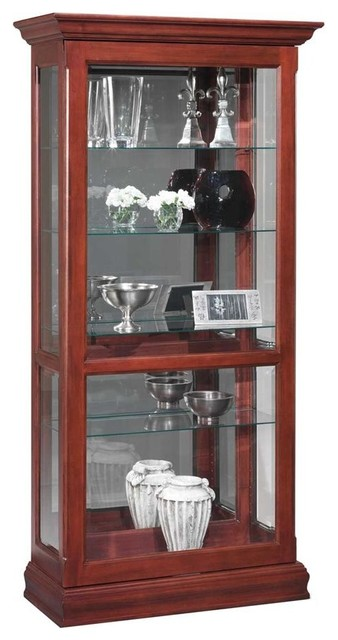 Sliding Front Door Curio Cabinet w Adjustable ...