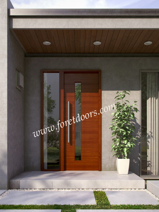 Modern front entry doors / contemporary front entry doors - Solid wood contemporary entry door with glass, sidelight and stainless steel pull