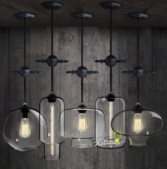 Antique Industrial And Clear Glass Pendant Lighting Contemporary Pendant