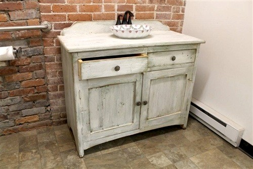 White Bathroom Vanity From Reclaimed Wood farmhouse-buffets-and-sideboards