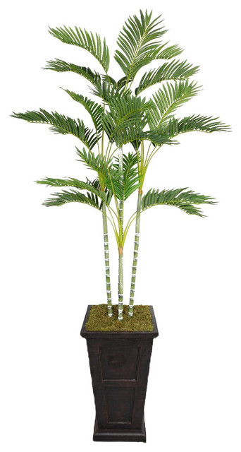 Laura Ashley 87-inch Tall Palm Tree in Fiberstone Planter - Contemporary - Indoor Pots And ...