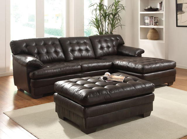 Acme Modern Brown Leather Sectional Sofa Couch Chaise Tuft