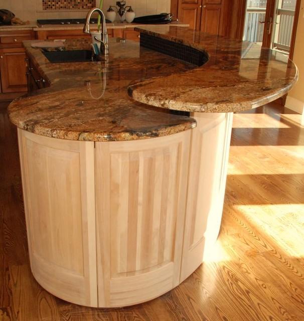 Phoenix Black Modern Kitchen Island With Granite Top
