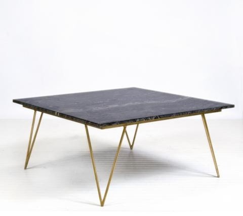 Worlds Away Neal Gold Leafed Coffee Table with Black Marble Top traditional-coffee-tables