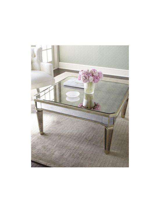 """Horchow - Amelie Mirrored Coffee Table - Reflect on the beauty of this beautiful mirrored coffee table—perfect in any room. Imported. Frame is made of Asian hardwood with silvery finish and golden accents. Covered in antiqued mirrored veneers. 38""""W x 38""""D x 19""""T. Imported. Boxed wei..."""
