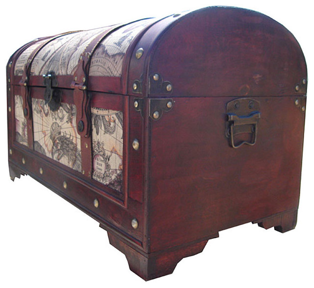 World Map Decorative Wooden Storage Trunk - Traditional - Decorative Trunks - by Overstock.com