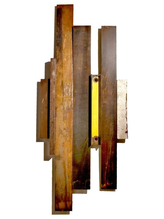 "Vibes I - Salvaged steel upcycled into rustic-modern wall art. This sculpture features slats of steel and remnants that were used entirely as they were found. The pieces were assembled to create a visually dramatic and balanced piece of art.  (As Shown: 17"" x 41"")"