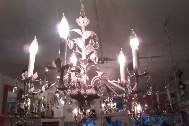 pink tole vintage crystal leaf chandelier shabby chic italy antique chandeliers