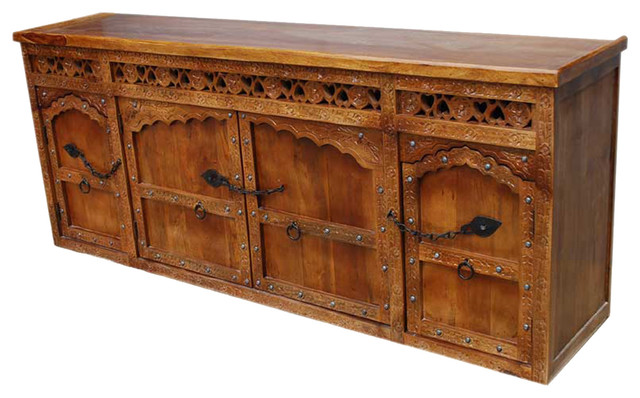 Solid Wood Hand Carved Sideboard Buffet w Wrought Iron Hardware - Traditional - Buffets And ...