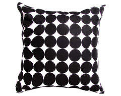 Black and White Modern Pillow, Black Dotted by Anyarwot Designs modern-decorative-pillows
