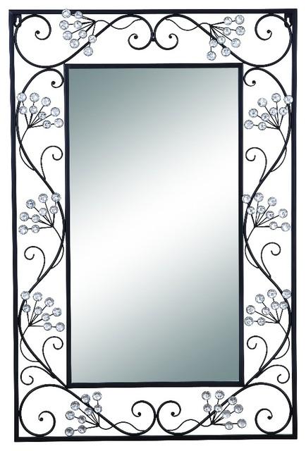 Elegant mirror black metal frame scroll work wall accent home decor