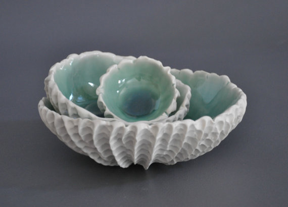 Nesting Scallop Bowls in Copper Blue by Element Clay Studio tropical serveware