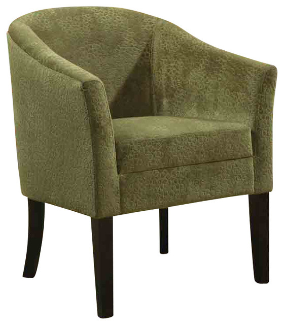 Transitional Green Accent Chair With Microvelvet