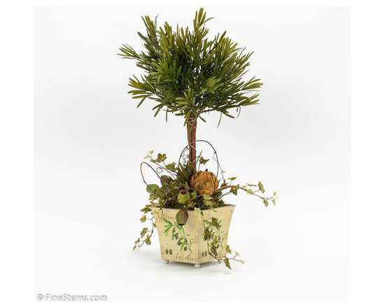 Rosemary Topiary - Rosemary Topiary Decorated with Olives and Artichokes placed in an Olive Container.