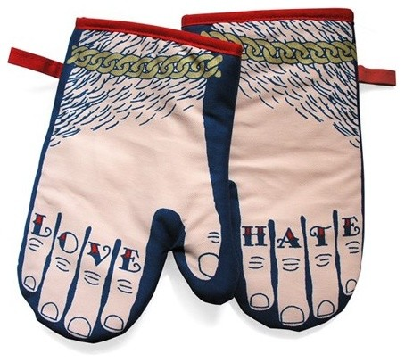 Glove And Hate Oven Glove Pair eclectic-oven-mitts-and-pot-holders
