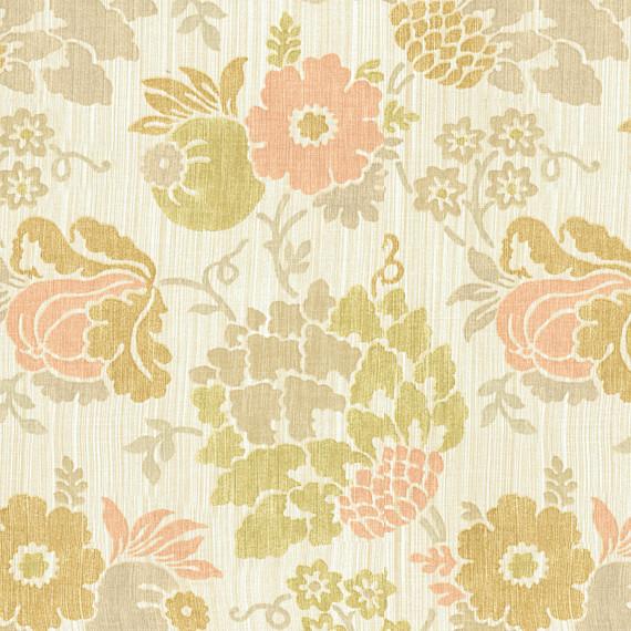 Peach Green Stencil Floral Linen Fabric Contemporary