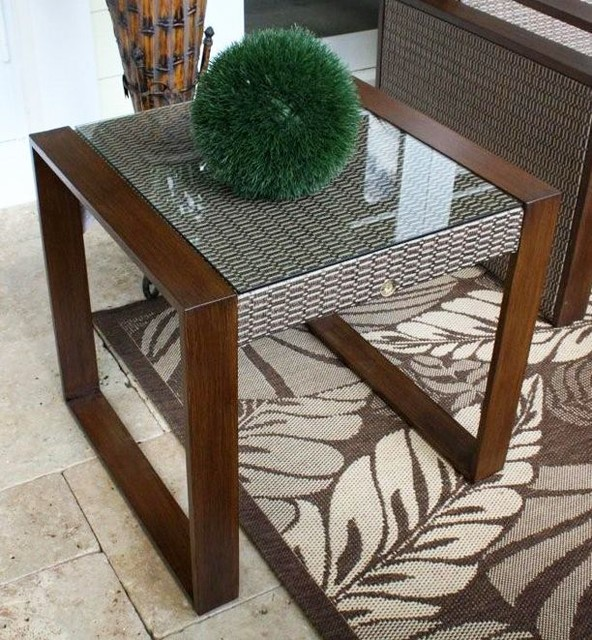 Venetian Sling Patio End Table w Tempered Gla contemporary-outdoor-tables