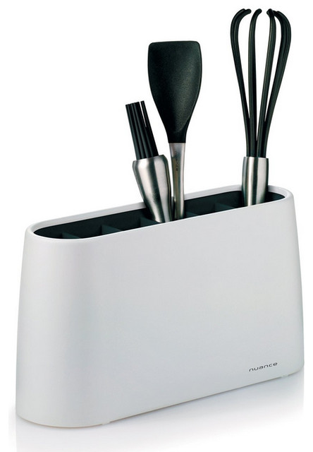 Nuance serving utensil kitchen tool holder in white for Modern kitchen utensil