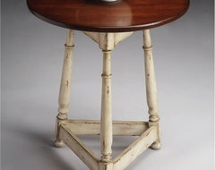 Butler Round Accent Table - Vanilla and Cherry contemporary-side-tables-and-end-tables