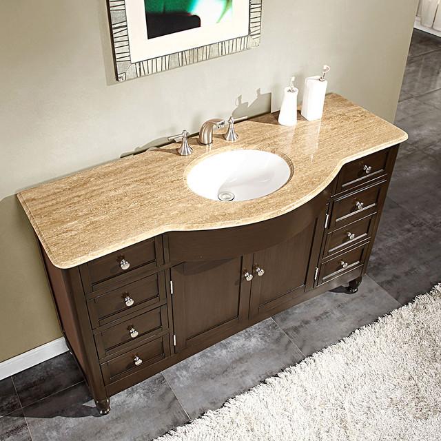 Silkroad Exclusive 58-inch Travertine Stone Top Bathroom Vanity contemporary-bathroom-sinks