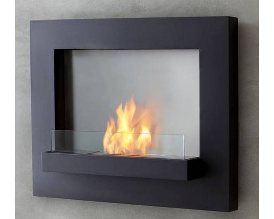 """Real Flame Black Edgerton Wall Fireplace - Dimensions: 36"""" L x 30"""" H x 6.75"""""""