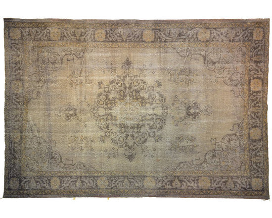 Grey Medallion Overdyed Rug - Rich color with hints of underlying pattern revive well-loved vintage Turkish carpets into a truly fabulous area rug.