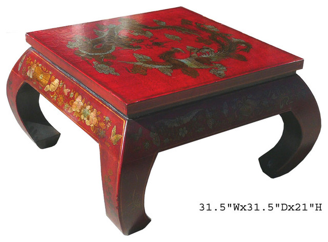 Chinese Curved Leg Red Leather Dragon Phoenix Painting Coffee Table