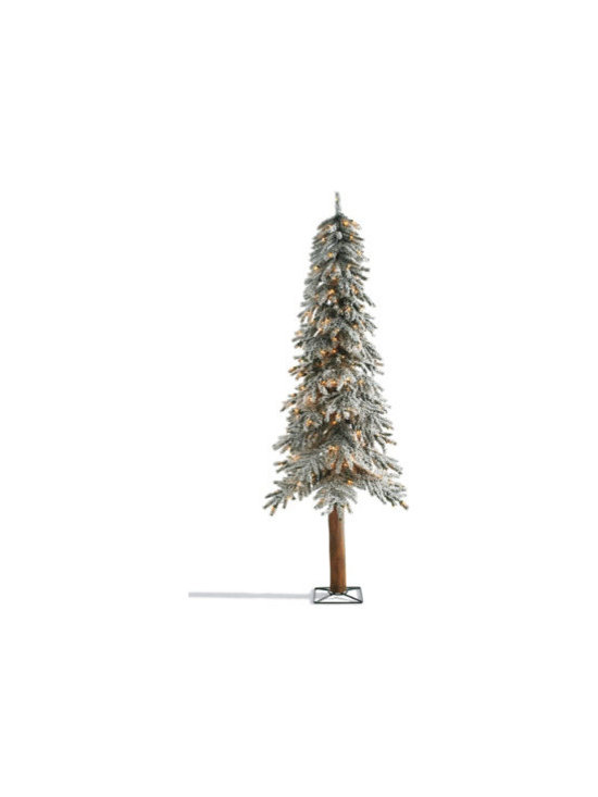 Grandin Road - 6-ft. Pre-lit Alpine Tree - Snow-tipped, sculpted mixed tips provide extra realism and fullness. Decorators wrap each tree, top to trunk, with bright, long-lasting clear mini-lights. Sturdy metal base keeps each tree standing tall. Simple assembly. Each plugs into a standard outlet. The lifelike frosted foliage of our Snow-tipped Pre-lit Alpine Trees provides instant wintertime charm. Inspired by majestic mountain pines, these snow-tipped beauties are sure to create holiday magic wherever you place them.. . .  . . Shaping is required to achieve a full and lifelike look.