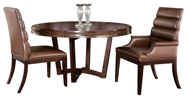 American Drew Miramar 3 Piece Round Dining Room Set In Auburn Traditional