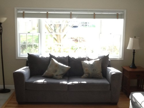 Windows treatment options for bay window sofa in front for What to put in front of a bay window