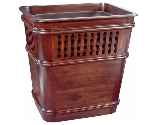 Wastebasket, Grid w/Insert - These classic desk basics make any workspace sophisticated. Made from plantation grown mahogany, this office wastebasket adds a rich sophistication to your desk.