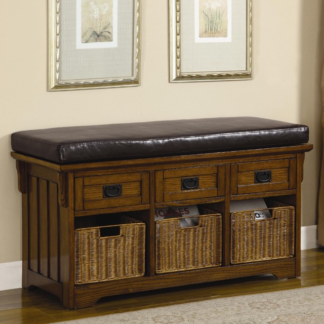 Traditional Foyer Bench : Benches small storage bench with upholstered seat by