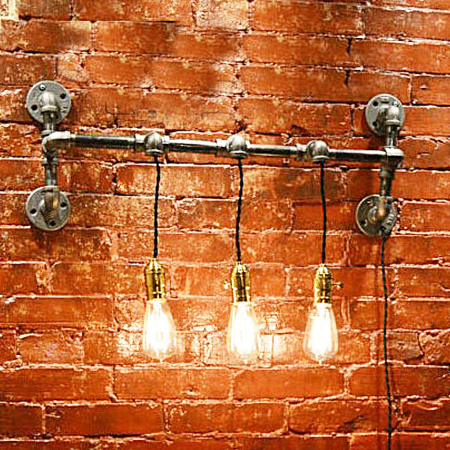 Wall Sconces Nyc: LOFT Water Pipe 3 Bulbs Wall Sconce