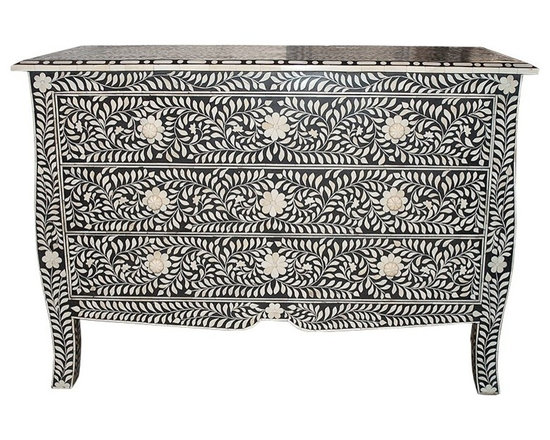 Bone Inlay French Dresser Chest Black and White - This fabulous three-drawer dresser is a remarkable feat of superior craftsmanship and design. Painstakingly created from wood solids the finished overlay features bone inlays formed and shaped in a vine pattern, with beautiful drawer pulls and curved legs. Variations in bone inlay are not uncommon, giving each piece one-of-a-kind distinction.This wonderfully ornate Bone Inlaid takes a team of skilled craftsmen to complete. Individual pieces of reliably sourced camel bone have been skilfully carved and fixed into black resin on a wooden frame to create these items. Charlotte & Ivy thinks the results are simply stunning.