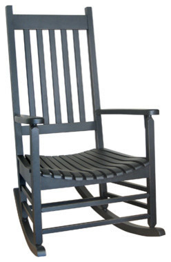 International Concepts R-51866 Porch Rocker - Solid Wood - Black transitional-outdoor-lounge-chairs