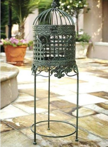 Antique Green Birdcage Plant Stand traditional outdoor planters