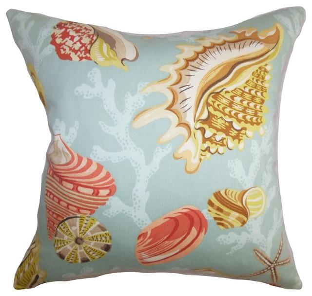 Coastal Inspired Throw Pillows : Tait Coastal Pillow Aqua Yellow - Beach Style - Decorative Pillows - by The Pillow Collection Inc.