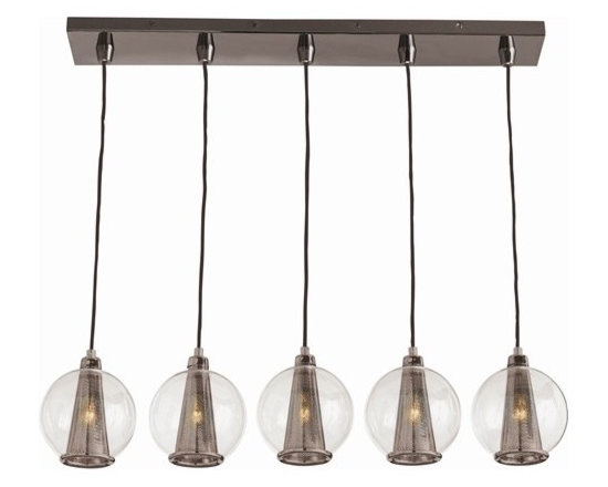Arteriors Caviar Fixed Linear Brown Nickel/Smoke Gls Pendant - Caviar Fixed Linear Brown Nickel/Smoke Gls Pendant
