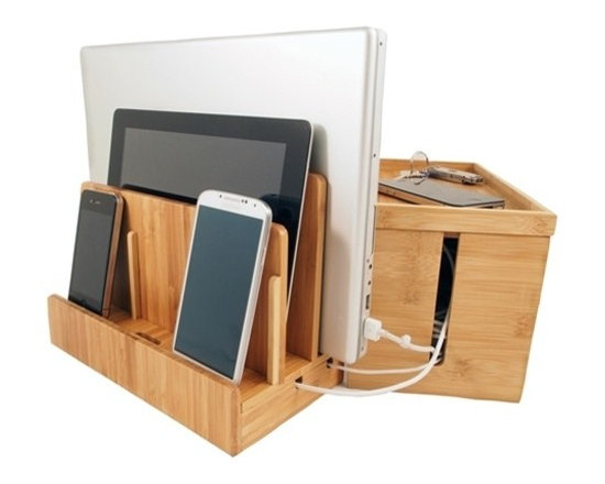 Great Useful Stuff - Bamboo Multi-Charger and Cord Cubby Combo, Large - 2 great products that together solve your charging and cord organization problems!