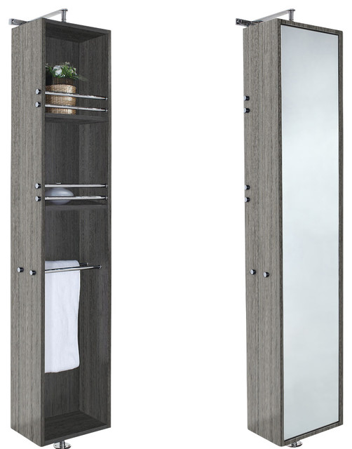 April 360 degree rotating floor cabinet with full length for Full length mirror with shelf