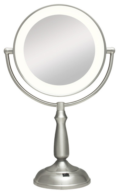 zadro ultra bright led lighted 1x 10x round vanity mirror in satin nickel ledvp contemporary. Black Bedroom Furniture Sets. Home Design Ideas